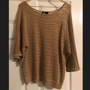 Glittery Gold Mesh Sweater Size M--New Directions